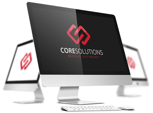Monitors displaying CoreSolutions Software Inc. logos