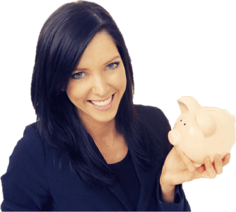 Lady with piggy bank